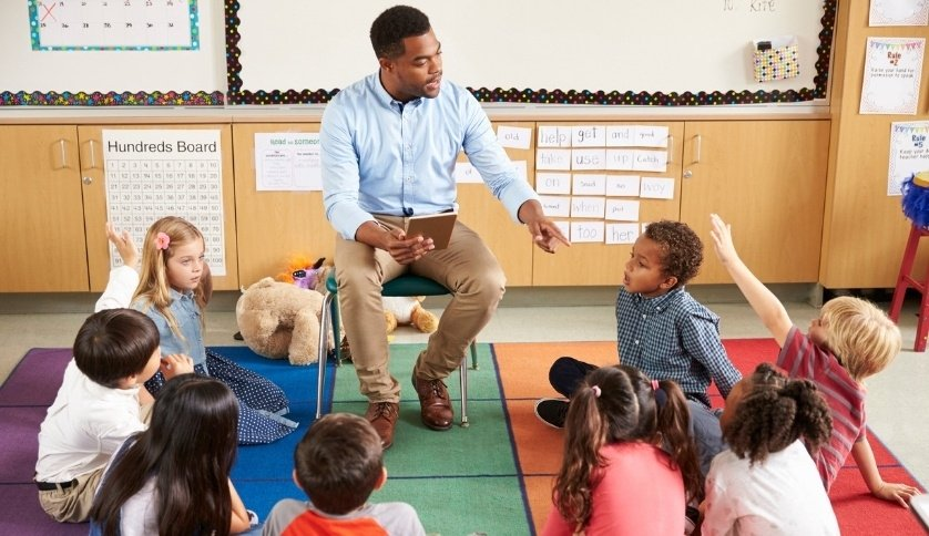 A primary teacher talks to his students.